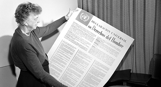Mrs. Eleanor Roosevelt holding Declaration of Human Rights, November 1949