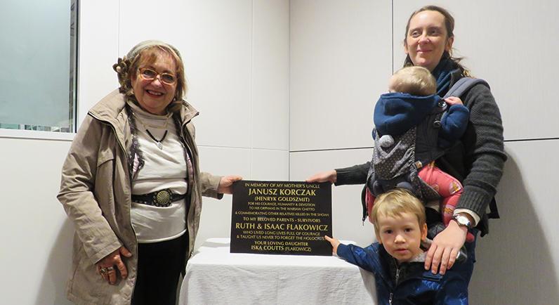 Plaque Dedication - Descendants of Janusz Korczak