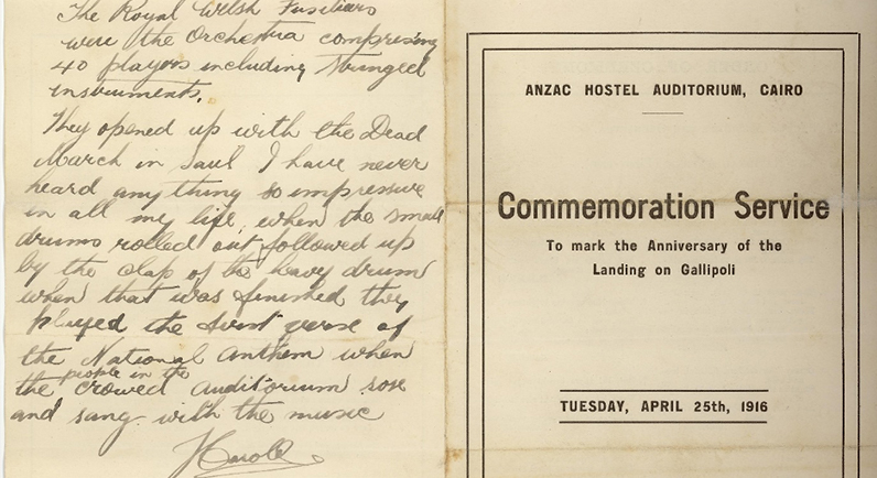 Program from first Anzac Day ceremony held in Cairo