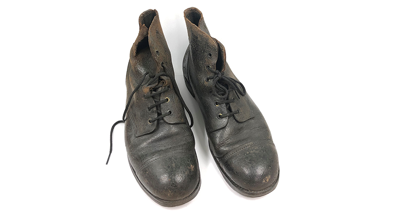 Army boots worn by Harry Wigglesworth who served in the British Army from 1939-1946. SJM Collection.