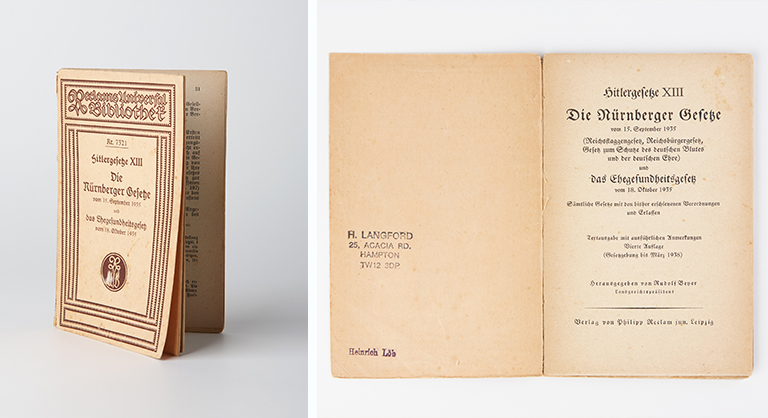 A 1938 pocket edition of laws and regulations issued by Hitler in 1935, consisting the Nuremberg Laws of 15 September 1935 and Marriage Health Law of 18 October 1935.