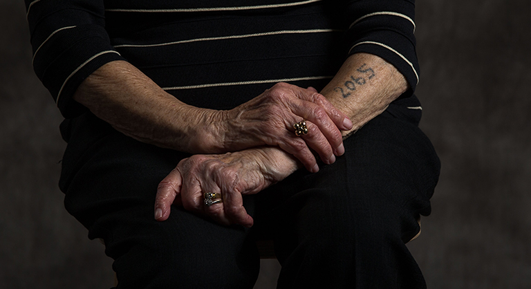 Holocaust survivor Lotte Weiss and her tattoo from Auschwitz