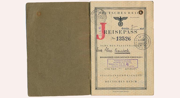 German Reisepass (passport) belonging to Elise Bienstock (nee Herzog), issued in 1938 in Vienna.