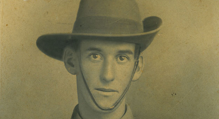 Mounted military portrait of Corporal Barney Bernard Grimish