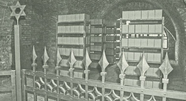 Photograph of storage place at Thereseinstadt for urns containing ashes of cremated Jews