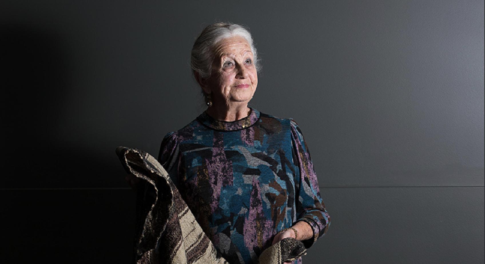 Photograph of Holocaust survivor Olga Horak looking upwards