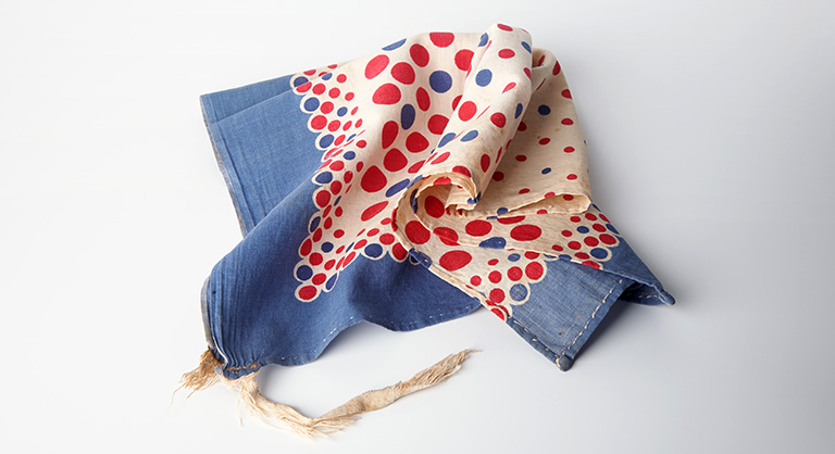Dotted blue and red scarf